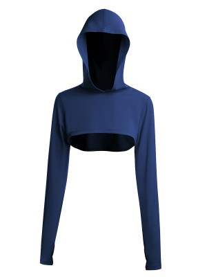 Navy Blue Thumbhole Full Sleeve Solid Color Gym Top Young Style