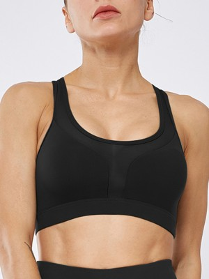 Stretch Black I-Shaped Sports Bra with Back Pocket For Female