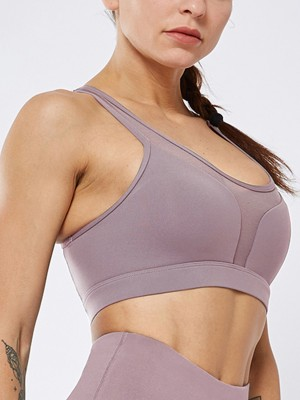 Elastic Purple Line Yoga Bra Mesh Patchwork U Neck Ladies