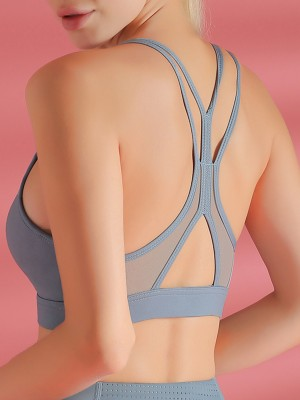Eye Catching Blue Mesh Patchwork Sports Bra Cut Out Elegance