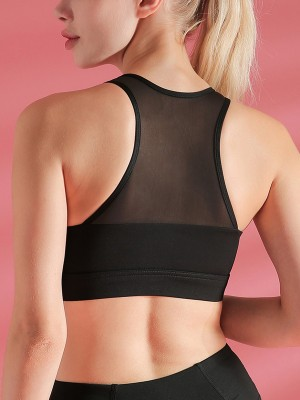 Surfing Black V Neck Mesh Patchwork Sports Bra Weekend Time