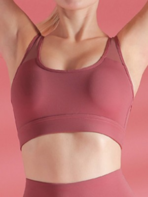 Jujube Red Shockproof Sports Bra Mesh Splicing Ladies Activewear