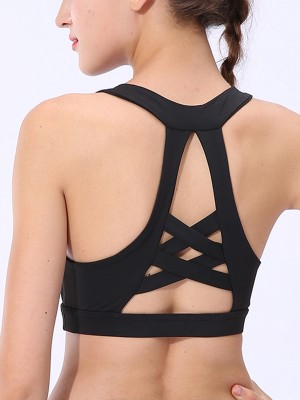 Close-Fitting Black Open Back Sports Bra Mesh Splicing Curves
