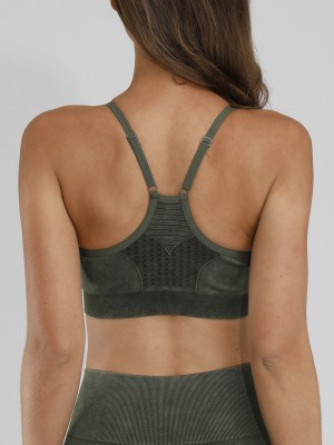 Elegant Army Green Seamless Yoga Bra Y-Shaped Backless For Woman