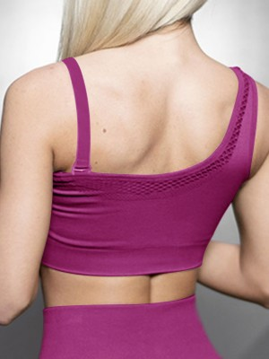 Absorbing Purple Cutout Mesh Sports Bra Moisture Wicking