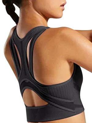 Black Knit Seamless Active Bra Removable Pad Feminine Charm