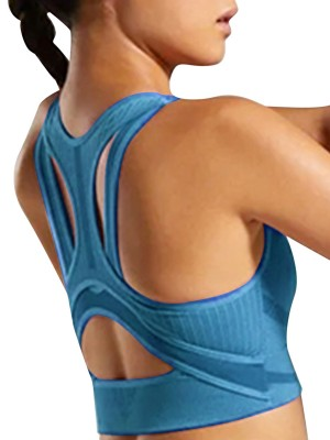 Nautically Blue Cutout Yoga Bra Widened Hem Backless Activewear