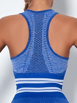 Thermo Heating Blue Widened Hem Hollow Out Running Bra Young Style