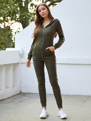 Sultry Army Green Sequin Patchwork Sweat Suit Zipper For Running