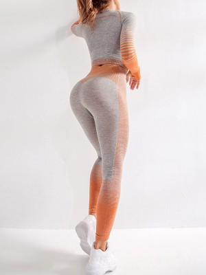 Elastic Orange Long Sleeves Crop Top And Sports Pants For Running Girl