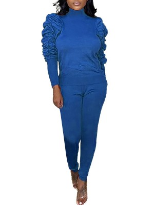 Allover Blue High Neck Full Sleeves Top And Pants Stunning Style