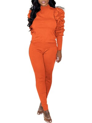 Tropics Orange Mock Neck Puff Sleeves Sports Set Plain Athletic Comfort