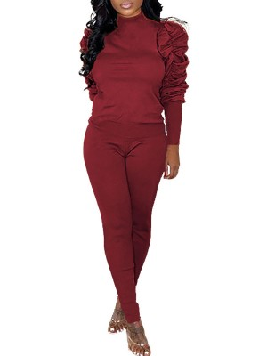 Comfortable Red Solid Color Long Sleeves Athletic Suit Women Fashion Style