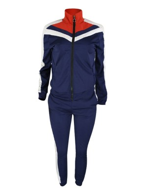 Deep Blue Splice Large Size Sport Jacket And Pants Workout Apparel