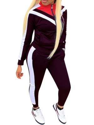 Sweety Deep Purple Plus Size Patchwork Sport Set With Pocket Sportswear