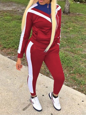 Running Wine Red Colorblock Big Size Zipper Sport Suit Sensual Curves