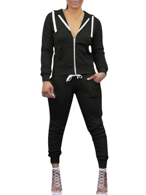 Awesome Black Drawstring Hooded Pockets Athletic Suit For Lounging
