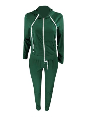 Swimming Blackish Green Athletic Suits With Pockets Hooded Neck Ultra Hot