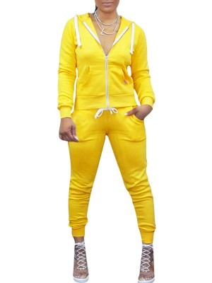 Cozy Yellow 2 Pieces Hooded Jacket And Sports Pants Women's Essentials