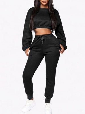 Hawaii Black Cropped Pocket Long Sleeves Sports Suit With Stylish Design