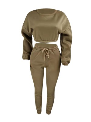 Super Khaki High Waist Crop Sweat Suits Full Sleeve Women Outfit