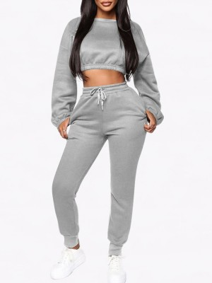 Body Sculpting Gray Round Neck Crop Top And High Waist Pants For Woman