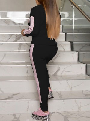 Flirting Black Sequin Stitching Sweatsuit Full Sleeve Sport Series