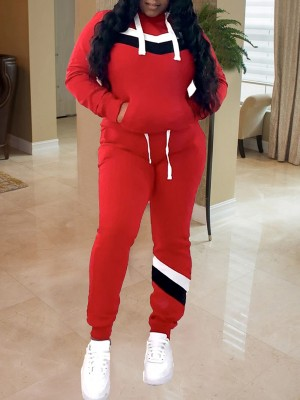 Flirtatious Red Colorblock Sweat Suit Hooded Neck Exercise Outfit