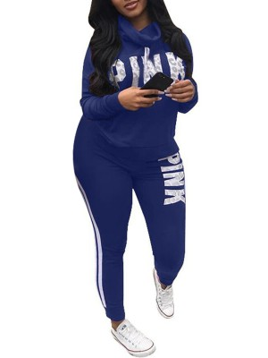 Fasinating Royal Blue Letter Printed Queen Size Sweatsuit Running Outfits