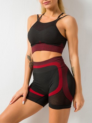 Wonderful Red Mesh Contrast Color Strap Sports Suit Weekend Time