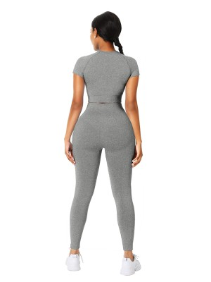 Shop Gray Solid Color Sports Top Seamless Legging Distinctive Look