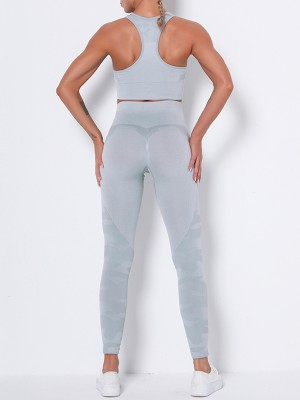 Light Gray U-Neck Sleeveless Bra High Rise Leggings Running Outfits