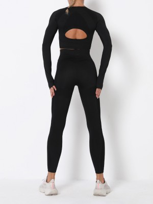 Delightful Black Hollow Out Solid Color Athletic Suit Exercise