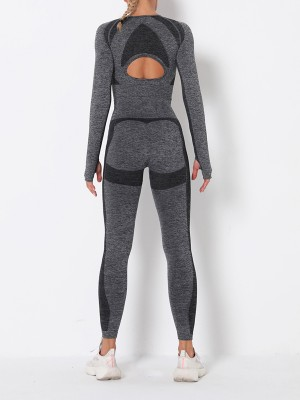 Energetic Dark Gray Long Sleeve High Rise Sweat Suit Form Fitting