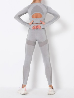 Hot Light Gray Round Collar High Rise Athletic Suit Athletic Outfit
