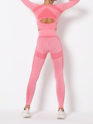 Elasticated Pink Thumbhole Crew Neck Sports Suit Seamless For Female