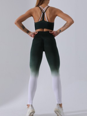 Slinky Green Backless Sling Bra Ankle Length Leggings Slim Fit