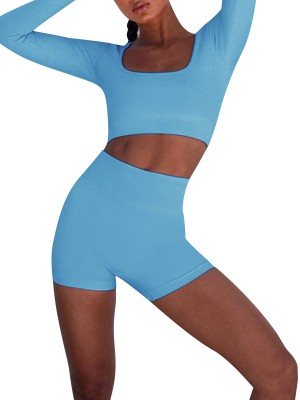 Modern Ladies Blue Yoga Suit Crop High Waist Thumbhole Tight