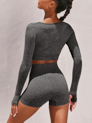Basic Boutique Gray Crop Yoga Top With High Waist Shorts Leisure