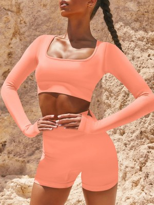 Slimming Fit Orange Long Sleeves Yoga Suit Tummy Control Leisure