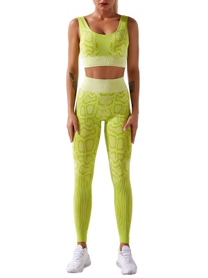 Light Yellow Full Length Seamless Snakeskin Print Yoga Suit Leisure Fashion