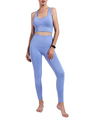 Light Blue Punching Yoga Bra And Ankle-Length Legging Tight