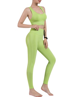 Green Removable Cups Yoga Suit Punching Seamless Unique Fashion