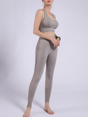 Gray Removable Cup Sports Bra High Rise Legging Comfort