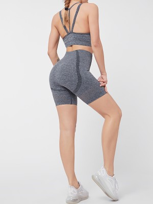 Yoga Suit Gray Open Back High Waist Quick Drying