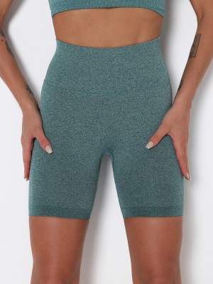Seamless Sports Shorts Green Knit High Waist High Elastic