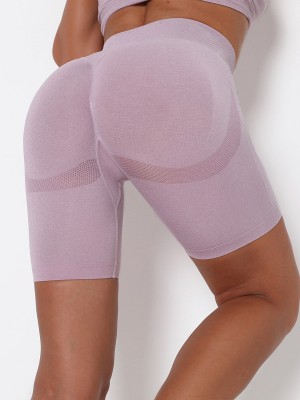 Light Purple Seamless Wide Waistband Yoga Shorts Women's Essentials