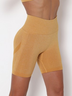 Knit Running Shorts Yellow Wide Waistband Ultra Cheap