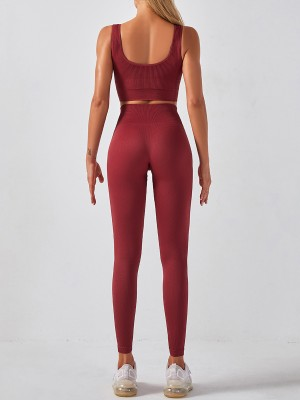 Jujube Red High Waist Sleeveless Seamless Yogawear Running Clothes