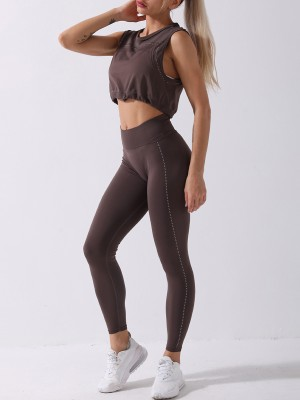 Yoga Suit Coffee Color Seamless Spot Paint Drawstring Elasticity